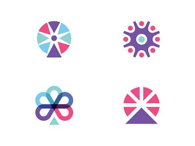 Ferris Wheel Logo logo ferris wheel circle geometric people