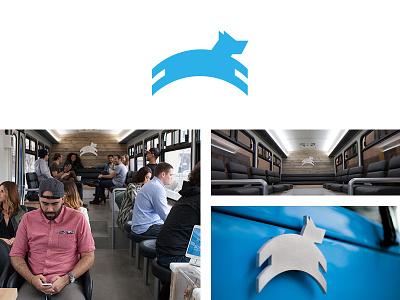 Ride Leap leap logo ride bus travel hop commute ticket
