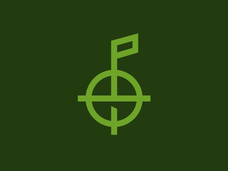 Hunt More Flagsticks Logo logo hunt scope cross hairs
