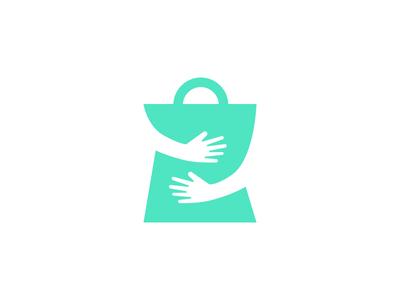 Dote Shopping App Logo dote bag squeeze hug love shopping logo