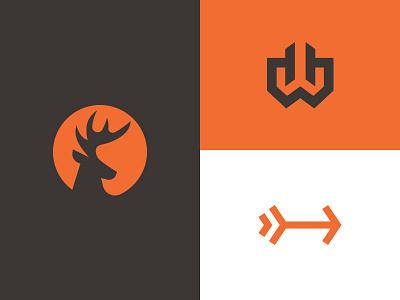 Huntwise Logo Marks symbol mark h arrow wise hunt stag deer logo