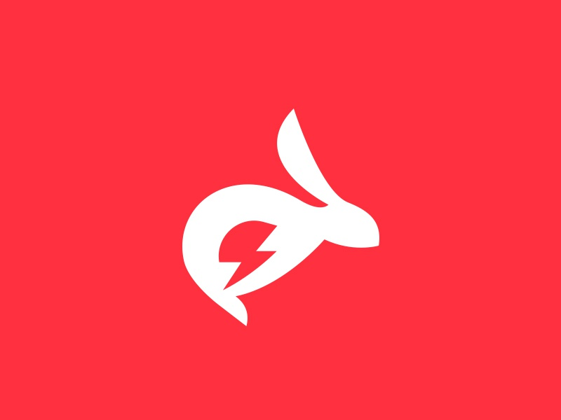 Bunny Logo design illustration nimble agile fast quick lightning hare bunny logo