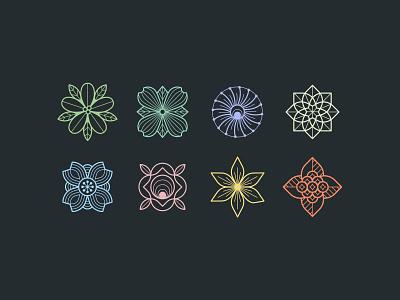 Geometric Flowers golden bell cherry blossom camelia firethorn flower design graphic illustration geometric flowers