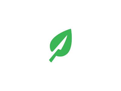 Freshly Cut Logo healthy leaf fresh cut knife design logo