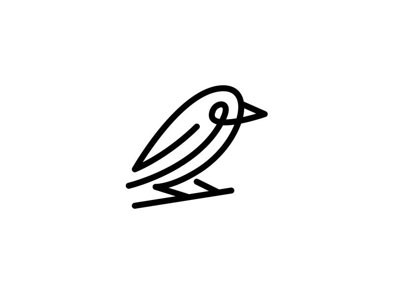 Unused Bird Concept simple single mono line bird design logo