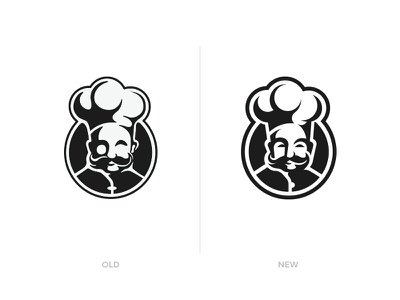 Executive Chef Refresh recipe food kitchen silhouette profile guy restaurant cook chef crest brand and identity rebranding rebrand refresh logo