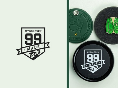 99 Badge design crest logo banner design product banner mygolfspy crest marker golf ball gift award golf 99 99 badge