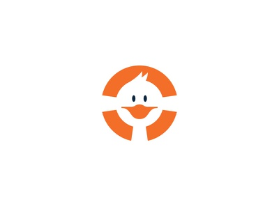 Duct Rescue character face circle logo design logodesign negativespace negative rescue clean water life raft float duct duck logo