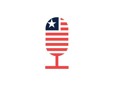 Podcast Cover Art artwork album cover logo voice podcast blog merica america art microphone flag american