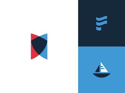 Nautical Related Logo geometric logodesign wave shield sail lake ocean river water blue prowl hull logo boat boating