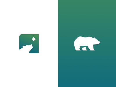 Bear Logos walking point north star character fun geometric logodesign design logo bear