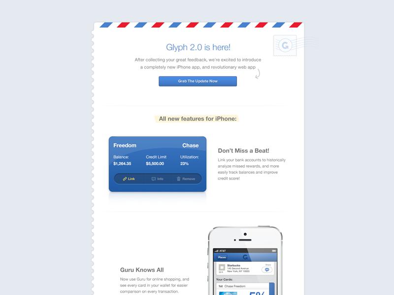 Glyph Newsletter newsletter stamp glyph credit card launch 2.0 app web design