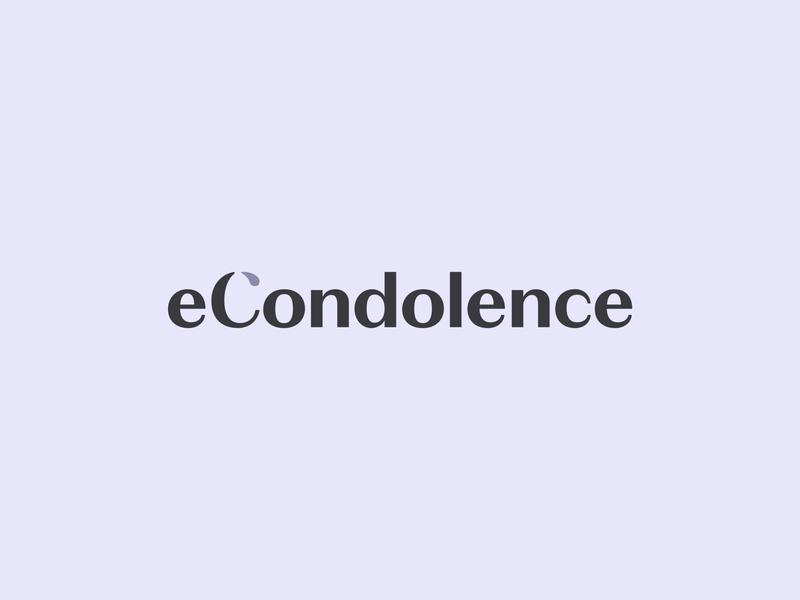 eCondolence Logotype sans serif logo type wordmark sad tear condolence logotype