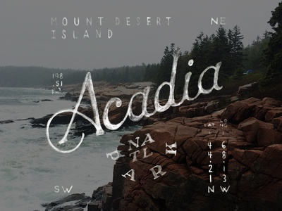 Acadia National Park handdrawn watercolor lettering park outdoors hiking nature