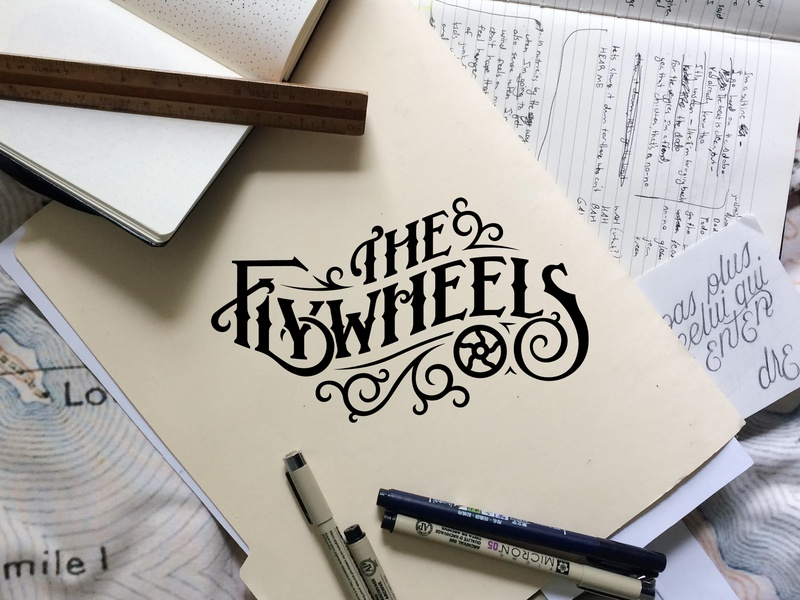 The Flywheels vector illustration vintage drawing type hand-drawn country brand identity design local band music logo brand design branding brand