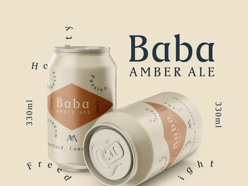 Baba Amber Ale create packaging simple hip graphic craft local beer mockup design