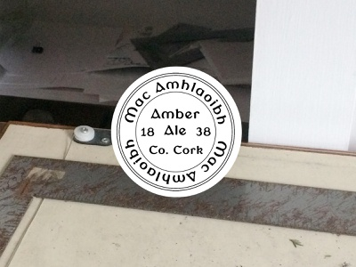 Mac Amhlaoibh Amber Ale creative typedesign vintage badge vintage beer drink gaelic ireland irish typography type font