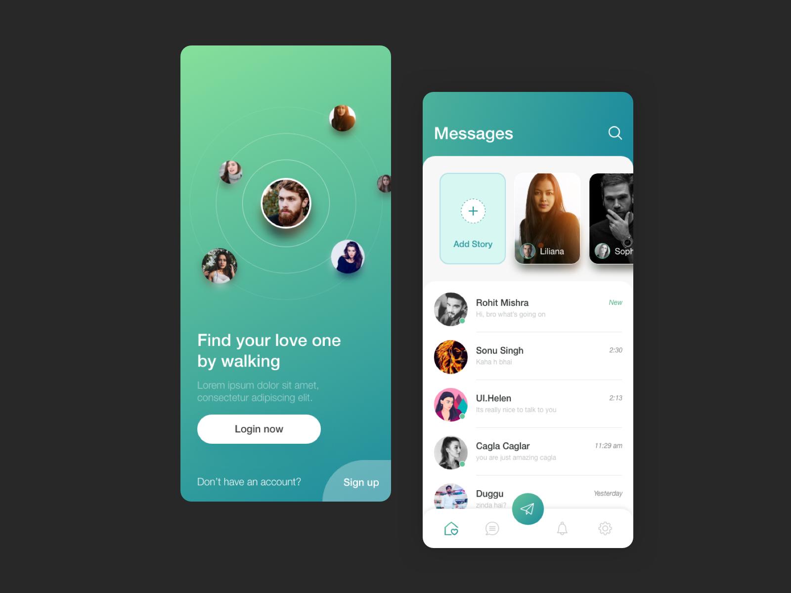 dating app ui design
