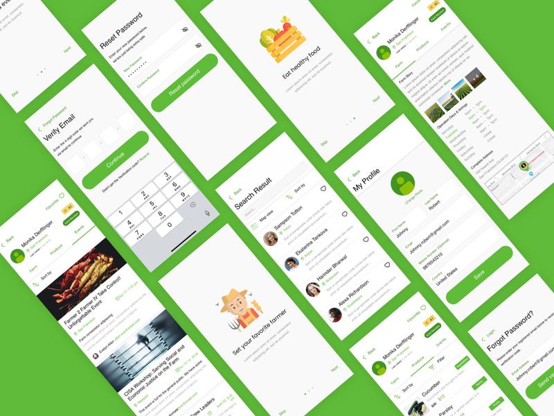 Farmer app design for iOS in sketch