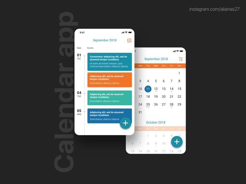 Calendar App in sketch