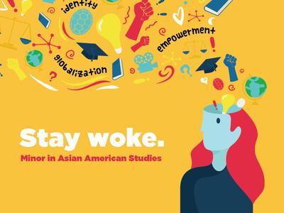 Stay Woke woke asian american university person illustration flat