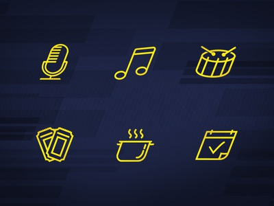 Late Night Icons late night calendar cooking tickets drum music podcast iconography icons