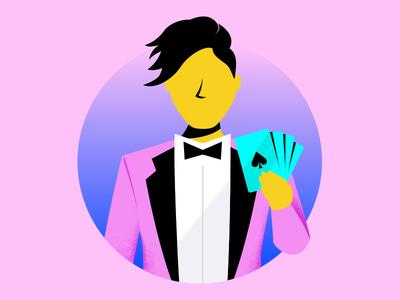 Magician illustration card trick magic magician