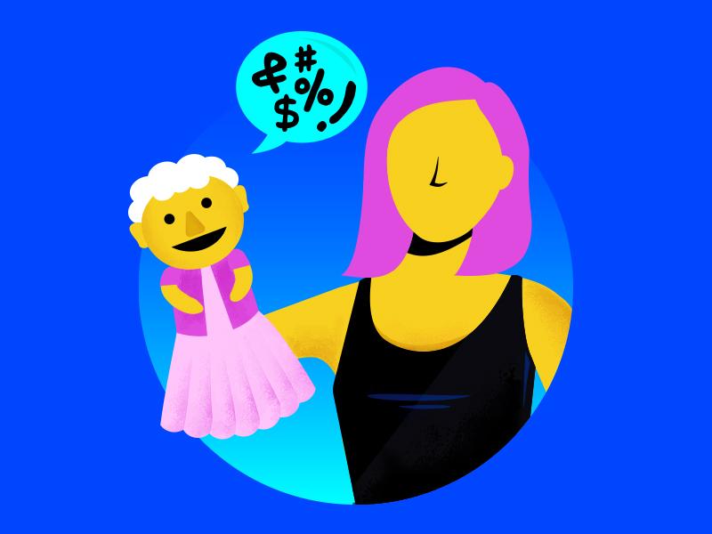Ventriloquist illustration woman puppeteer puppet ventriloquist