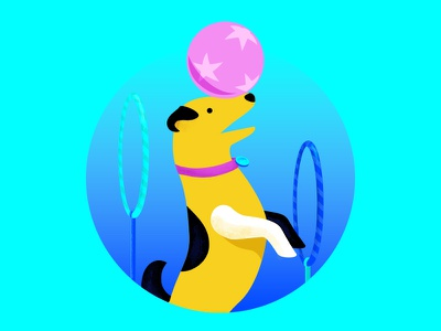 Dog illustration hoops ball trick pup puppy dog
