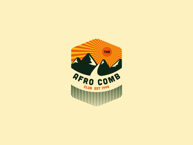The Afro Comb Club Logo africa afro emblem design emblem logo emblem badgedesign badge logo badge branding typography web logo design dribble app animation annimation vector icon illustration