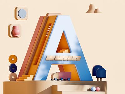 Letter A illustration 3d illustration typo poster 3dtypography ui branding logo graphic design 3d