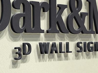 Wall Sign - Logo Mockup 3d wall sign logo cast letter mock-up mockup office lobby reception showcase text