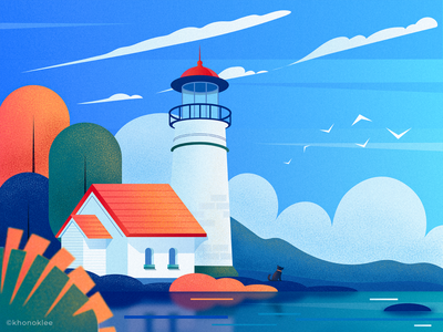 Lighthouse by the sea visual sea lighthouse flat design vector illustration