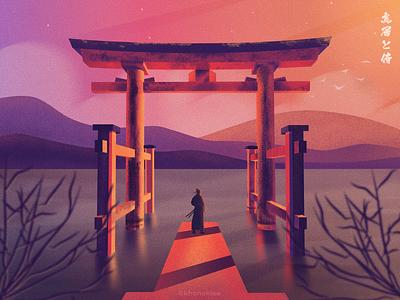 Torii gate and samurai sunset vector flat ronin ninja texture japanese samurai torri nature illstration japan