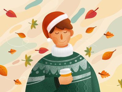 🎄Waiting for Christmas🎄 texture procreate web ui flat holidays cozy winter xmas illstration design christmas character