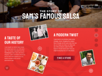 Sams Famous Salsa :: Our Story animated ux ui web design creative fun type layout about us interactive red our story timeline