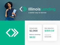 Illinois Lending :: Branding blue green logo mark typography type loans finance lending design arrows colors branding brand logo design logo