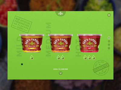 Sam's Famous Salsa :: Product Hero stamp colors fresh food ingredients product salsa ecommerce hover animation animation hover interaction product design ux ui website web