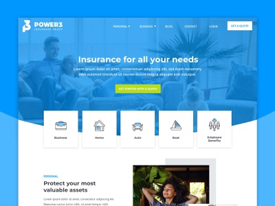 Power 3 :: Homepage Hero icons cards home homepage hero blue website quote online insurance web design web ux ui