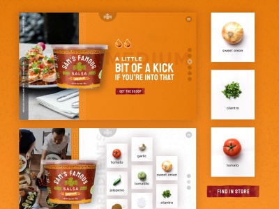 Sam's Famous Salsa :: Product Views onion tomato nutrition ui texture sketch green red orange fresh food ingredients product details product salsa ecommerce card style product design website web