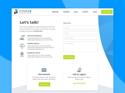 Power 3 :: Contact Page blue cta online quote insurance form contact page contact call to action icons
