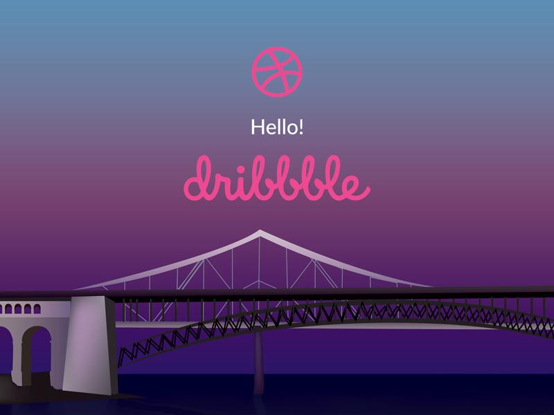 Hello Dribbble hello illustration first