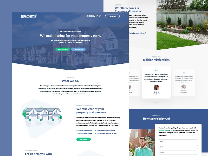 Diamond Property :: Splash Page maintenance landscape homes consulting property splash page ux ui web design web