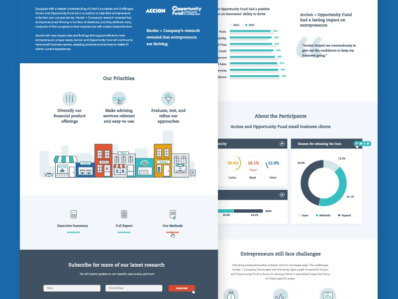 Accion :: Landing Page report study survey data infographic charts illustration landing page ui ux web
