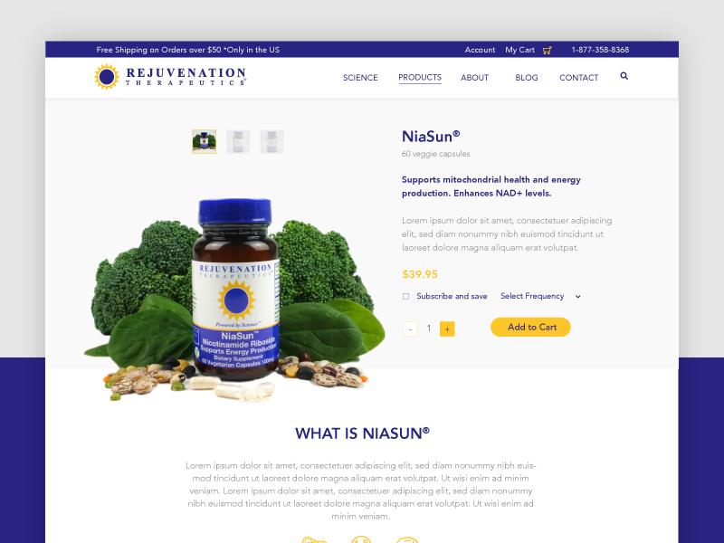 Rejuvenation Therapeutics :: Product Page faq benefits energy health shop supplements vitamins products ux ui web design web