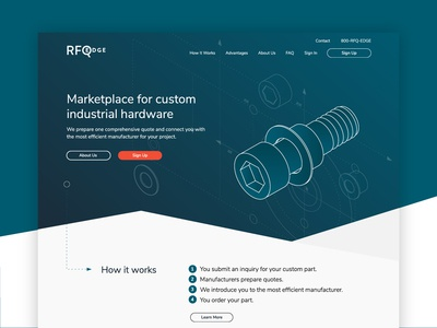 RFQ Edge :: Homepage isometric quotes ordering manufacturer hardware industrial parts homepage ux ui web design web