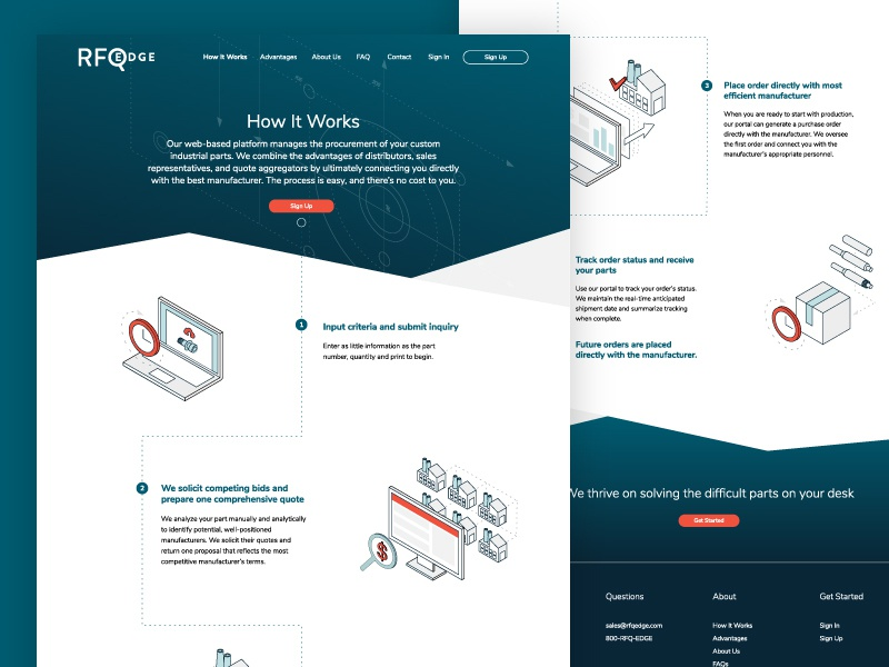 RFQ Edge :: How It Works manufacturing process parts isometric how it works ux ui web design web