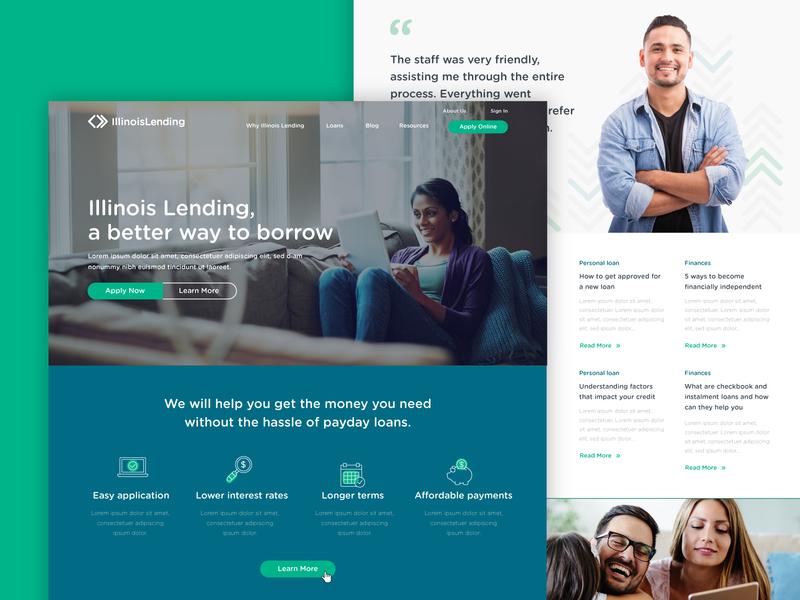 Illinois Lending :: Homepage Option 2 benefits apply finance loans lending homepage ux ui web design web