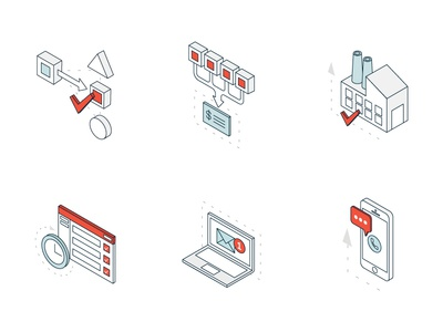 RFQ Edge :: Icon Set process request digital vector illustration isometric icon set icons icon