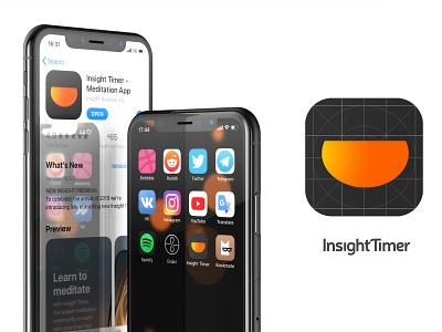 InsightTimer app. Redesign logo. icon branding design logo iphone x iphonex flat app ux